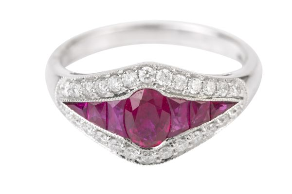 HM15511 Ruby & Diamond Vintage Ring in 18ct White Gold