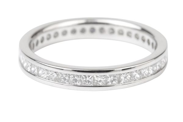 ET104 Full Eternity Ring Channel set with Princess Cut Diamonds in Platinum