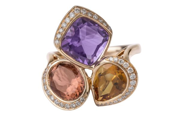 SB14505 Semi Precious Multi Stones & Diamond Ring in 18ct Rose Gold