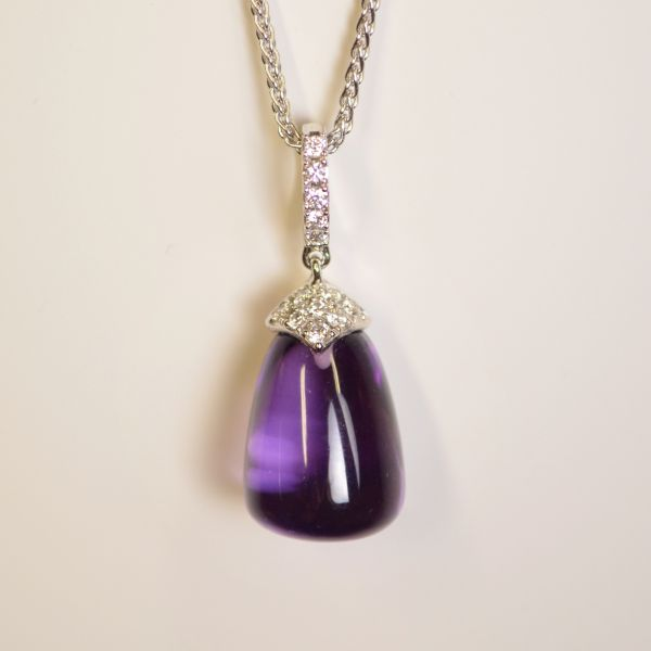 TP10935 Amethyst & Diamond Pendant & Chain in 18ct White Gold