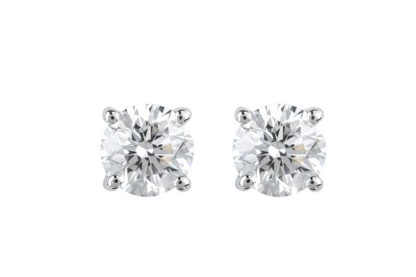 BA10662 Certificated Diamond Single Stone Stud Earrings in 18ct White Gold (GIA 1.02ct E VS 2)