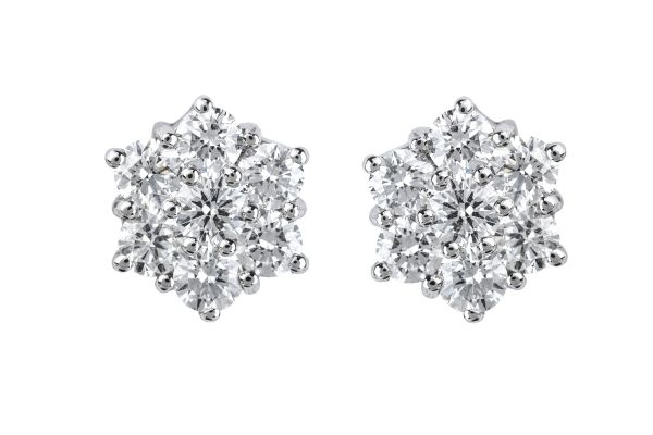 BA11613 Diamond Cluster Earrings in 18ct White Gold