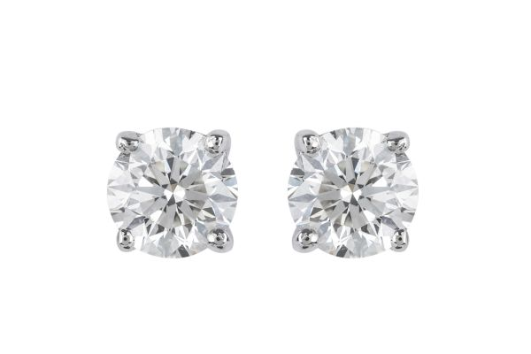 BA11619 Certificated Diamond Single Stone Stud Earrings in 18ct White Gold (GIA 1.42ct G VS 2)