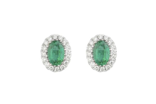 BF10606 Emerald & Diamond Oval Cluster Earrings in 18ct White Gold