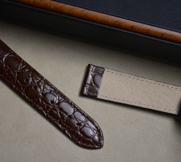20mm x 18mm Hirsch Brown Crocograin strap (1232 28 10)