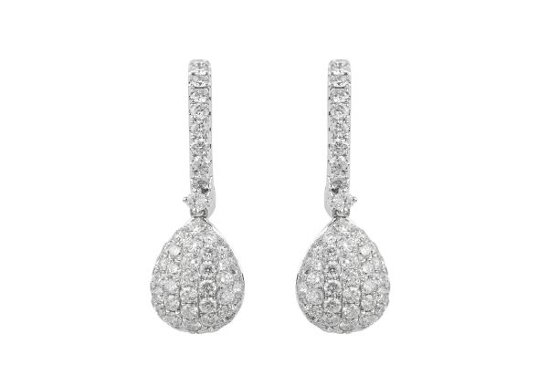 BF10608 Diamond Hoop & Drop Earrings in 18ct White Gold