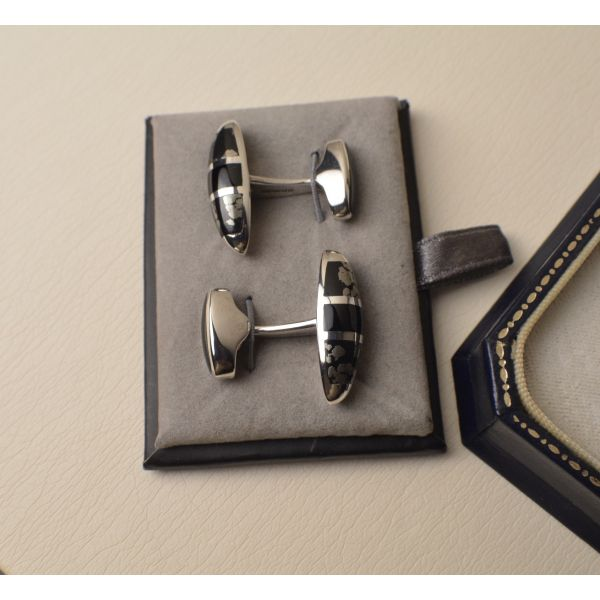 Sterling Silver Cufflinks set with Pyrite & Onyx