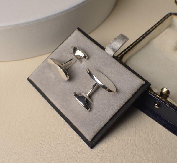 Sterling Silver Hallmarked Cufflinks Oval Disc