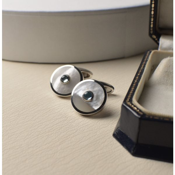 Sterling Silver Cufflinks set with White Mother of Pearl & Blue Topaz