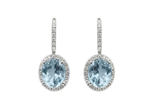 ER10623 Blue Topaz & Diamond Drop Earrings in 18ct White Gold