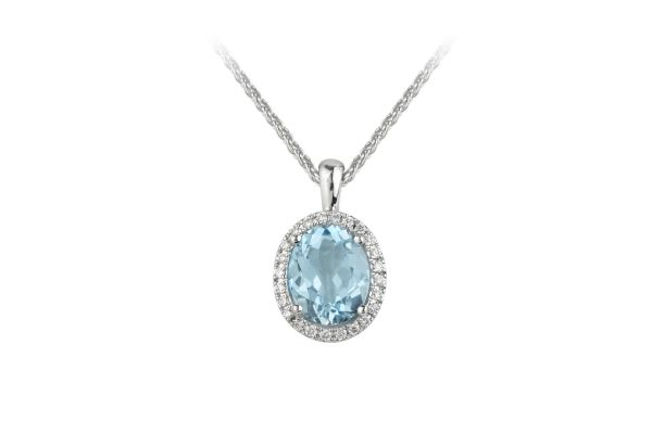 ER10816 Blue Topaz Faceted & Diamond Oval Cluster Pendant & Chain in 18ct White Gold