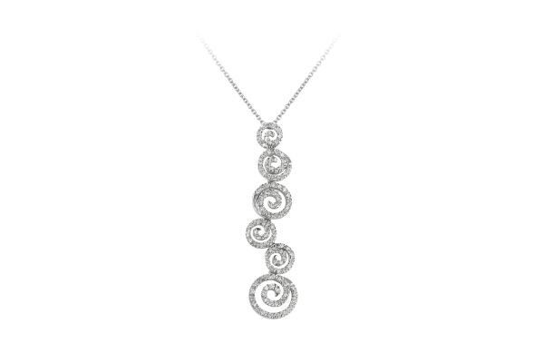 ER11809 Diamond Circular Articulated Motif Long Drop Pendant & Chain in 18ct White Gold