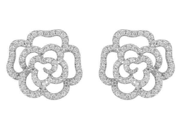ER12616 Diamond Rose 3D effect Earrings in 18ct White Gold
