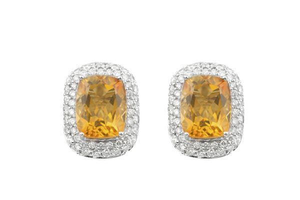 ER13619 Citrine & Diamond Earrings in 18ct White Gold