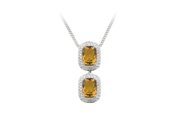ER13914 Citrine & Diamond Double Cluster Pendant & Chain in 18ct White Gold
