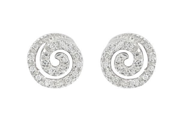 ER17628 Diamond Circular Motif Earrings in 18ct White Gold