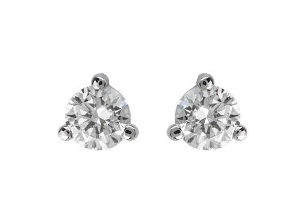 ER14634 Diamond Single Stone Stud Earrings in 18ct White Gold