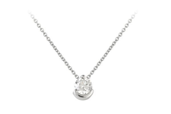 ER14835 Diamond Single Stone Pendant & Chain 18ct White Gold