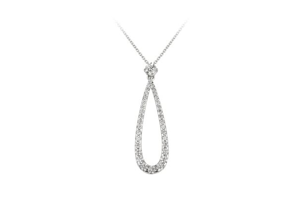 ER7827 Diamond Single Stone & Pear Shape Drop Pendant & Chain in 18ct White Gold