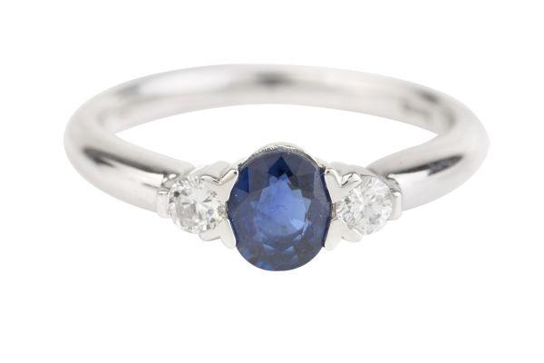 Three Stone Sapphire & Diamond Ring in 18ct White Gold