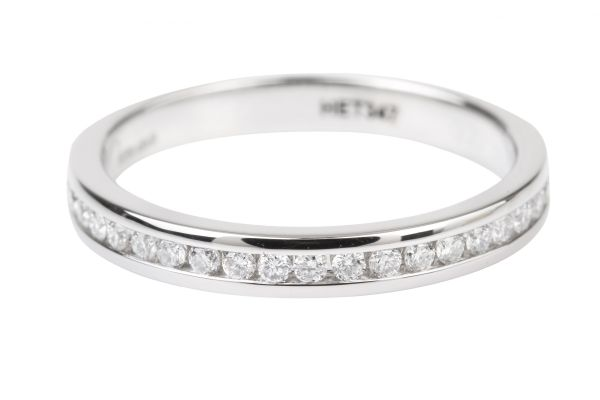 HET347 Half Eternity Ring Channel set with Brilliant Cut Diamonds in Platinum