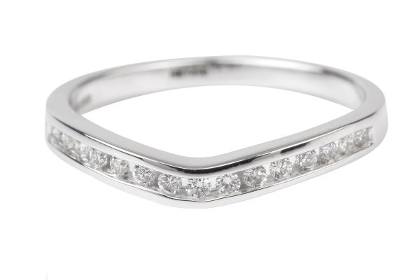 HET419 Shaped Half Eternity Ring Channel set with Brilliant Cut Diamonds in 18ct White Gold