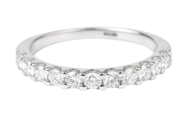 HET719  Half Eternity Ring Claw set with Round Brilliant Cut Diamonds in Platinum (0.50ct)