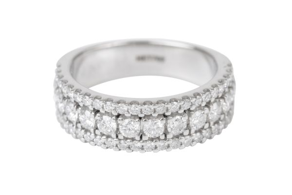 HET769 Three Row Half Eternity Diamond Ring in Platinum