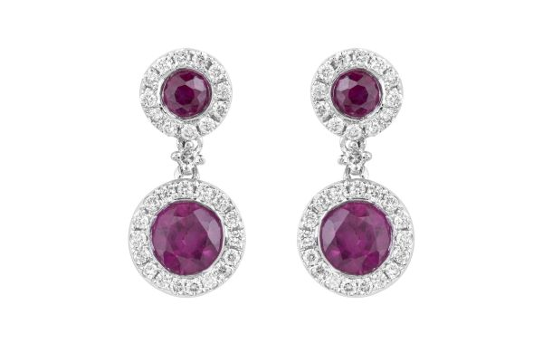 HM11627 Ruby & Diamond Cluster Drop Earrings in 18ct White Gold
