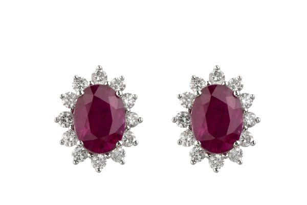 HM15613 Ruby & Diamond Oval Cluster Earrings in 18ct White Gold