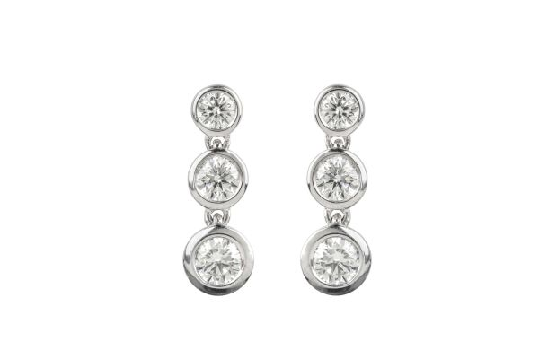 HM15615 Diamond Line Drop Earrings in 18ct White Gold