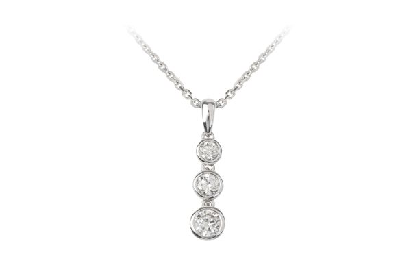 HM15903 Diamond Line Pendant & Chain in 18ct White Gold