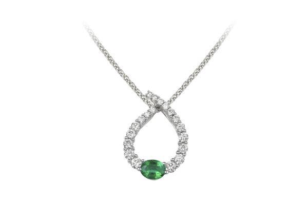 HM15904 Emerald & Diamond Pendant & Chain in 18ct White Gold