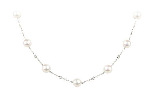 MA14805 Cultured Pearl & Diamond Chain in 18ct White Gold