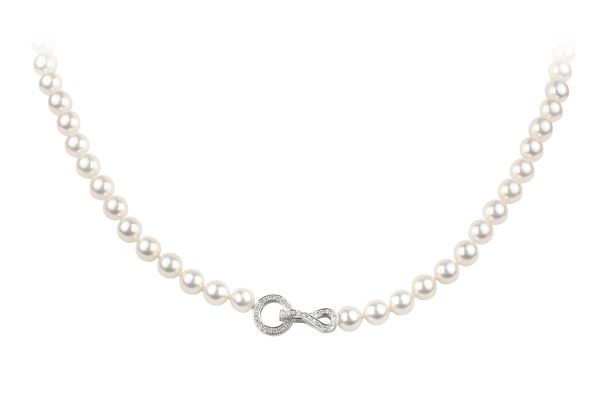 MA15816 Cultured Pearl Rope with Diamond Set Adjustable Clasp in 18ct White Gold
