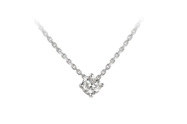 NCJ13809 Diamond Single Stone Pendant & Chain in 18ct White Gold
