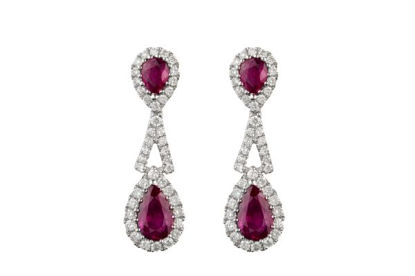 NV10635 Ruby & Diamond Cluster Stud & Drop Earrings in 18ct White Gold