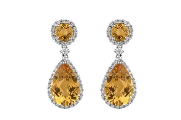 NV10637 Citrine & Diamond Drop Earrings in 18ct White Gold