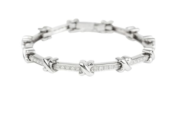 OP00726 Diamond set Line Bracelet with Cross Over breaks in 18ct White Gold ( 0.55ct )