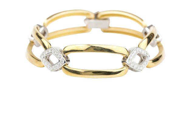 OP2754 Heavy Link Bracelet set with Diamonds in 18ct Yellow & White Gold ( 1.27ct )
