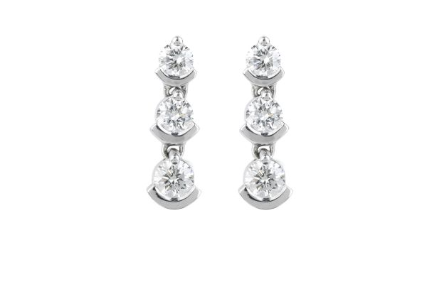 RE13651 Diamond Line Drop Earrings in 18ct White Gold