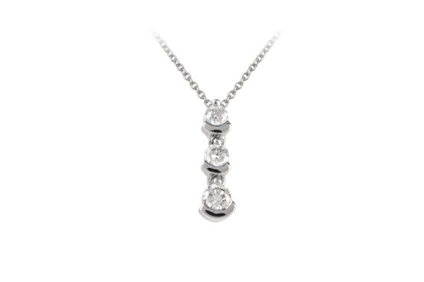 RE3875 Diamond Line Pendant & Chain in 18ct White Gold