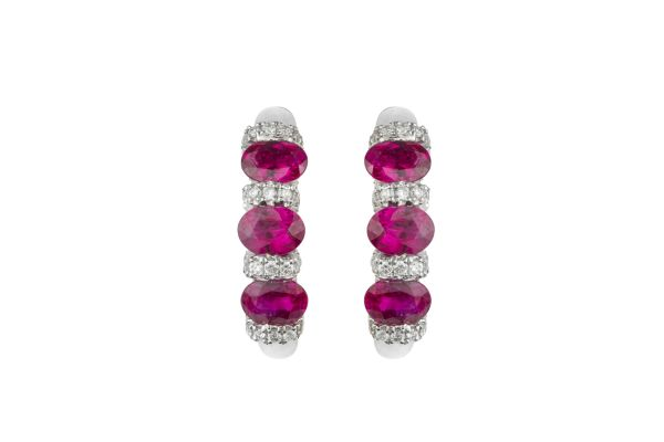 SB11600  Ruby & Diamond Hoops in 18ct White Gold