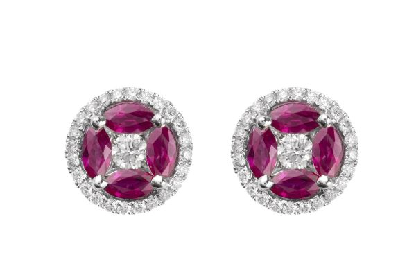 SB11607 Ruby & Diamond Cluster Earrings in 18ct White Gold