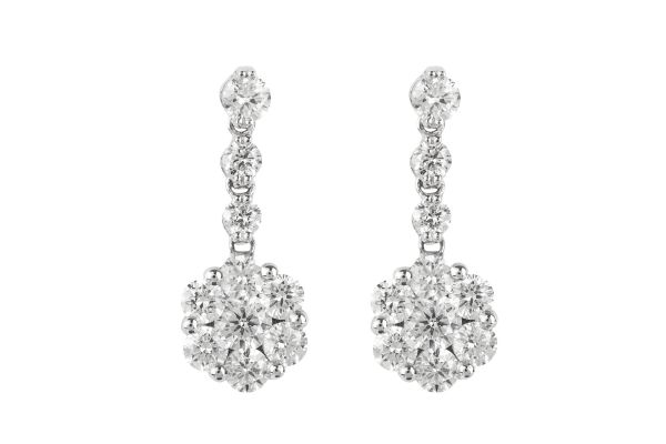 SB11610 Diamond Stud & Drop Cluster Earrings in 18ct White Gold