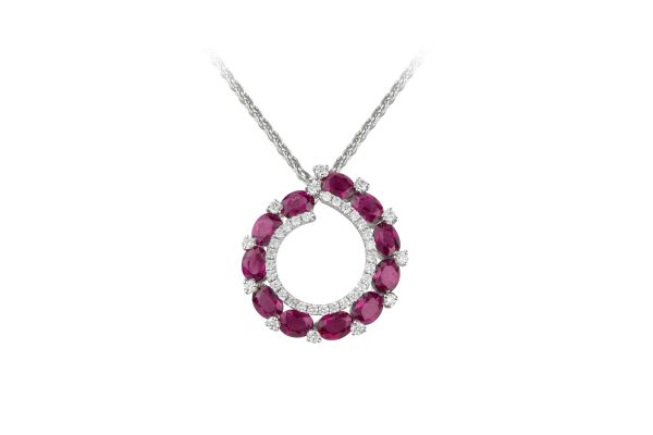 SB12811 Ruby & Diamond Abstract Pendant & Chain In 18ct White Gold