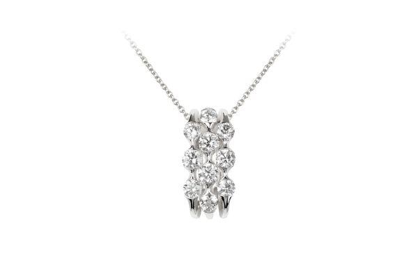 SB12815 Diamond Oblong Pendant & Chain in 18ct White Gold