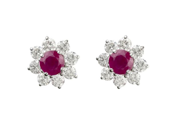 SB13603 Ruby & Diamond Round Cluster Earrings in 18ct White Gold