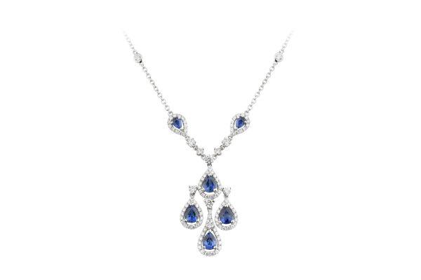 Sapphire & Diamond Tear Drop Necklace