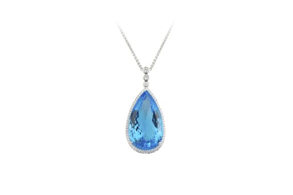 SB13904 Blue Topaz Pear Cut & Brilliant Cut Diamond Pendant & Chain in 18ct White Gold